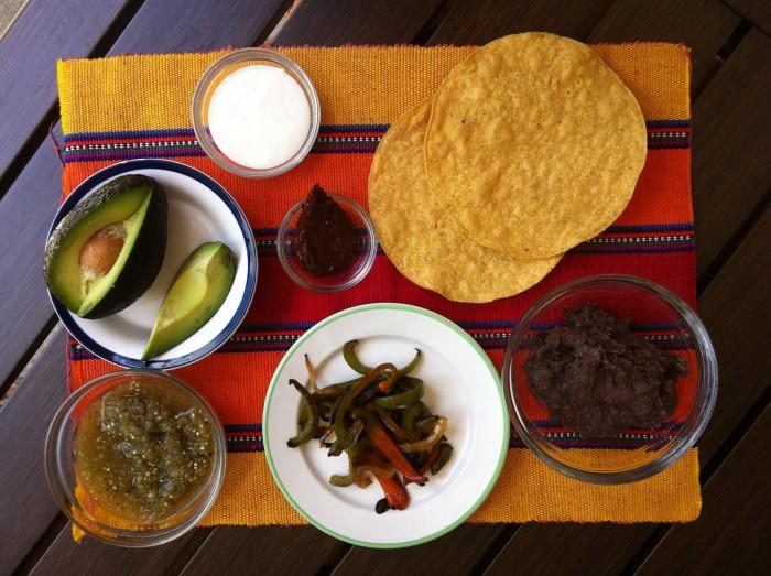 tostadas, tostadas mexicana, tostada con fajitas, receta de tostadas, tostadas veganas