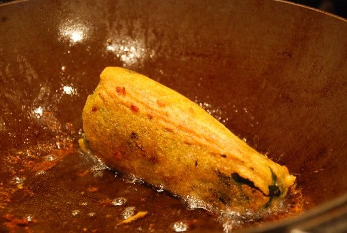 Frying poblano pepper
