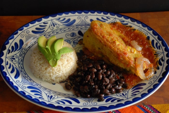 Chiles rellenos with rice and black beans