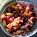 Vegan chorizo with potatoes and beets