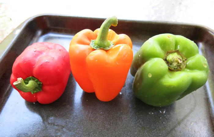 pimientos asados, receta vegana, receta práctica de pimientos asados